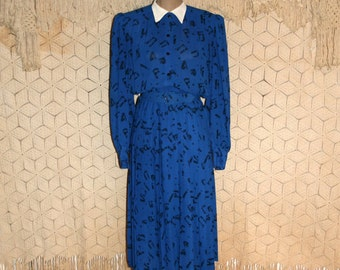 Vintage 80s Secretary Dress Blue Dress Long Sleeve Chiffon Shirtwaist Dress High Collar Pleats 80s Clothing Size 8 Medium Womens Clothing