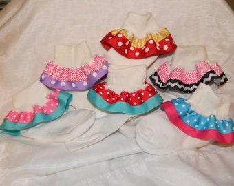 Ribbon trimmed socks with your choice of two different grosgrain ribbons on white cotton socks.