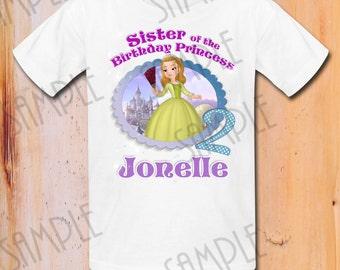 T-shirt Disney Sofia the First Iron On Transfer Printable Sister of Birthday Girl digital download Customizable Sofia Birthday Party Shirt