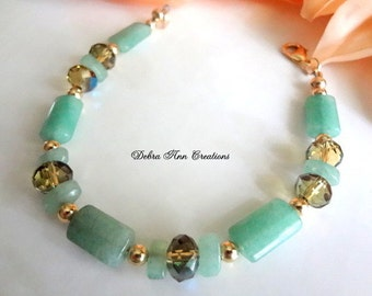 Green Aventurine Bracelet Green Crystal Bracelet Green Gemstone Bracelet Olivine Crystal Bracelet Green Jewelry Gold OOAK Gift