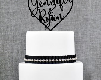 Wedding Cake Toppers with First Names Inside Heart, Personalized Cake Toppers, Elegant Custom Wedding Cake Toppers, Engagement Gift - (T009)