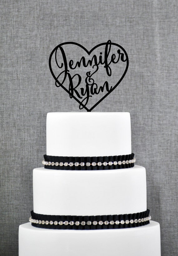 Custom name and heart cake topper