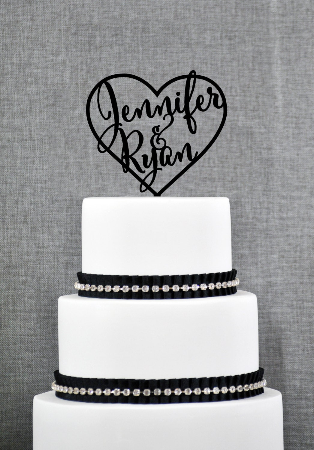 Custom Wedding Cake Topper First Names Inside Heart