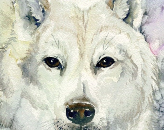 ACEO LIMITED EDITION Card; run of 10, white wolf, art, wildlife, nature, watercolor paper, wilderness, Canada,