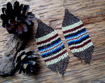 Clay Weaver..Beaded Fringe Earrings Native American Inspired