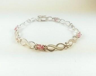 Vintage Pink Topaz Glass Sterling Silver Bracelet