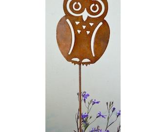 P401 Owl Garden Pick | Rusty Metal Owl Garden Stake Yard Art | Rusty Birds by Elegant Garden Design