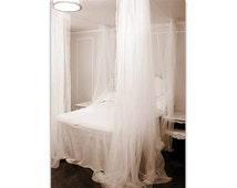 White Bed Canopy - Custom Hanging Bedroom Curtains Ceiling Net Lace Sheers Privacy Drapery Panels Romantic Elegant Four Poster Bed Drapes