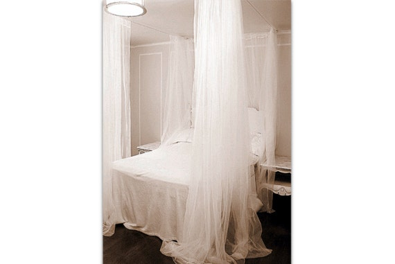 Like this item?  sc 1 st  Etsy & Queen Size Bed Canopy Curtains DIY Sheer Shabby and Chic