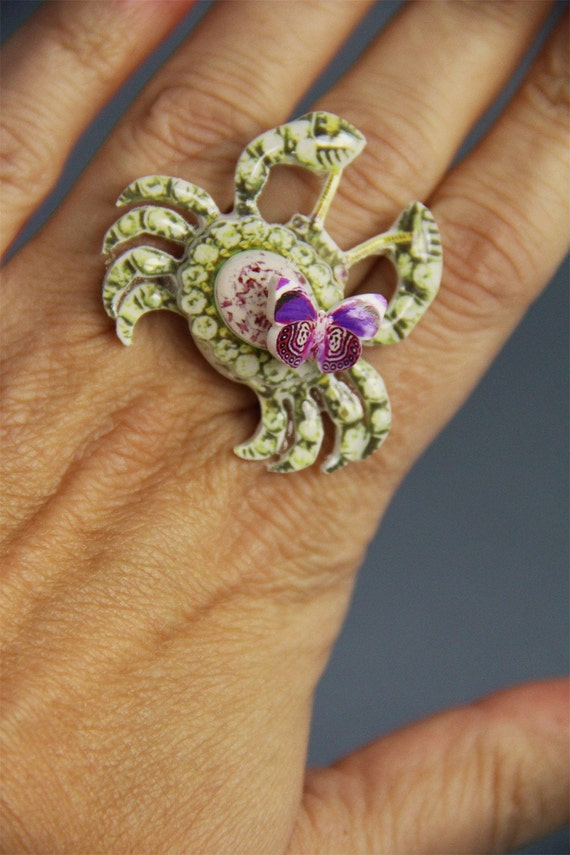 funky crab ring, unique cancer sign jewelry with butterfly