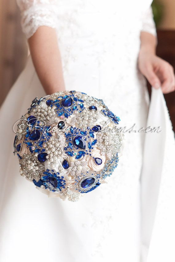 Royal Blue And Ivory Wedding Bouquets : Royal blue ivory wedding brooch bouquet big by rubybloomscom