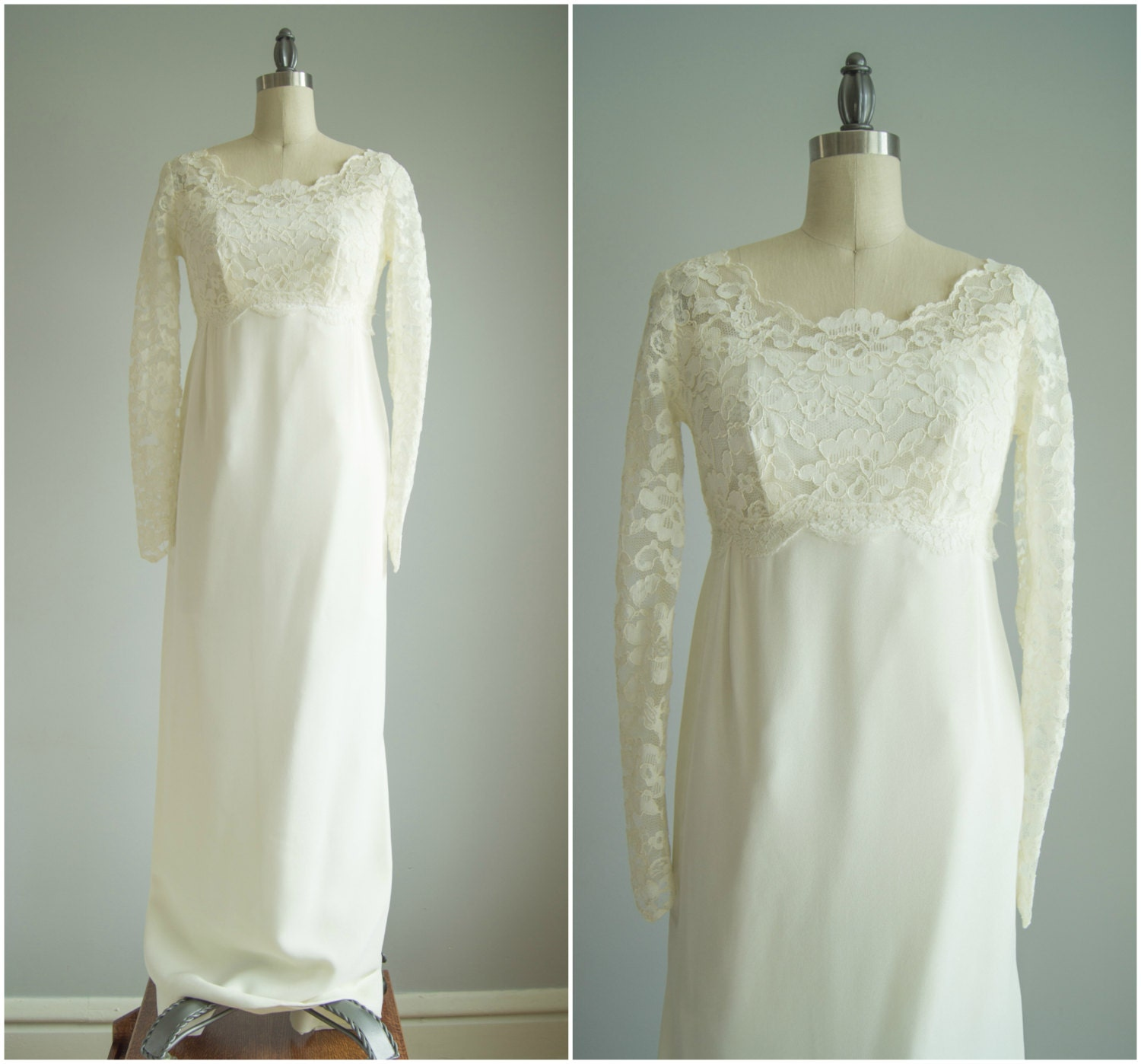 Vintage 1960s Wedding Dress Lace Column By HungryHeartVintage