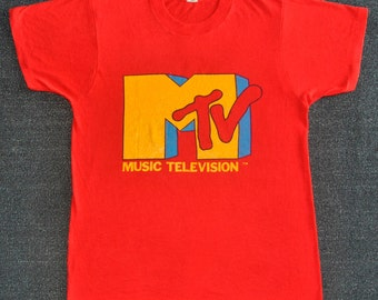 Vintage 80s MTV Music Television Screen star tee T Shirt-S/M