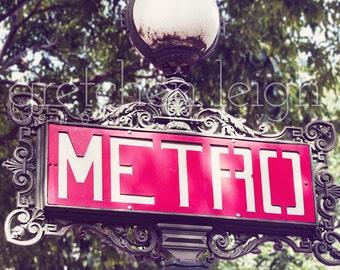 FIRST EDITION Vintage Paris Metro Sign photo Paris France multiple sizes- travel, decor, fine art photography, picture