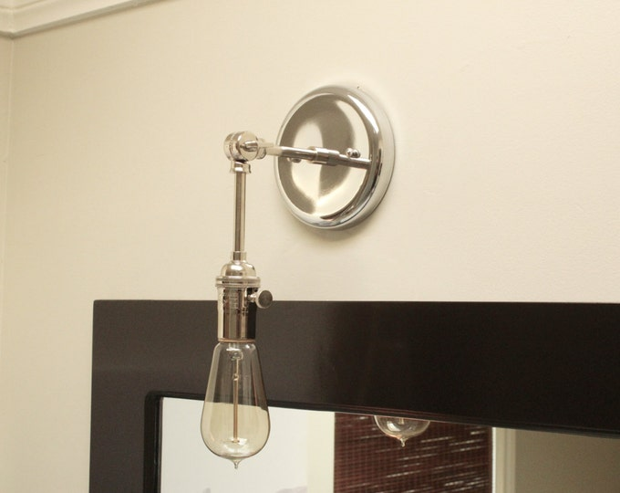 Free Shipping! Chrome Polished Nickel Wall Sconce Vanity Mid Century Industrial Modern Art Light