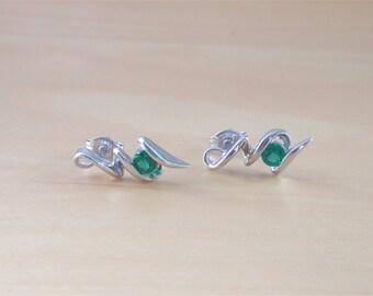 925 Emerald (Lab Created) Earrings/Emerald Stud Earrings/Emerald Jewellery/Emerald Jewelry/Emerald Jewelery/May Birthstone/Green Emerald Gem