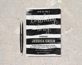 Black White Invite Etsy - Black and white striped birthday invitations