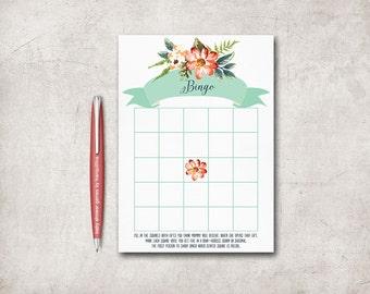 Baby Shower Bingo Card Printable, Baby Shower Games, Floral Bingo Game, Printable Bingo Baby Shower game, Digital File