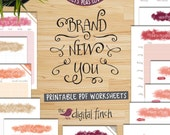 Health and Fitness printable planner and tracker - Brand New You - Watercolour style - instant download
