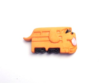 Dog Train Engine- Tie Tack or Lapel Pin