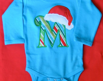 Initial with Santa Hat Applique Shirt or Onesie Boy or Girl