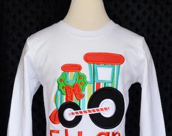 Christmas Choo Choo Train Applique Shirt or Onesie Boy or Girl