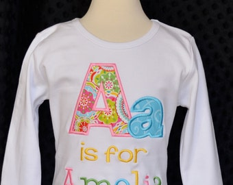 Personalized Initial Name Applique Shirt or Onesie Boy or Girl