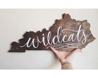 Handlettered Wooden UK Wildcats Kentucky