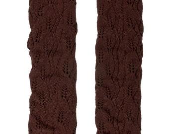 Women Knit Lace Long Button Leg Warmers, Boot Socks, Leg Sweaters, Cable Knit Socks-Brown
