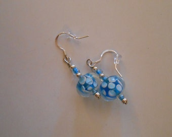 Blue and White Glass Earrings Item No. 23