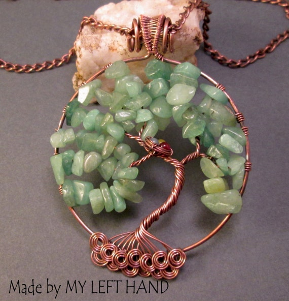 Tree of Life Pendant Jade and Copper Wire by MadeByMyLeftHand