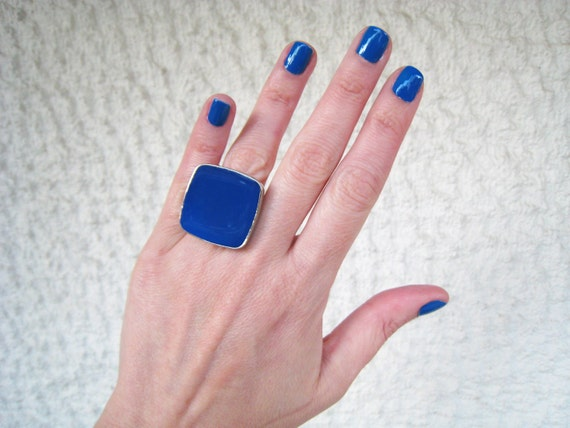 Blue ring, blue resin ring, lapis lazuli blue - cobalt blue glass ring, big chunky square ring, modern minimalist, color block jewelry