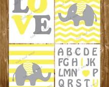 Printable Nursery Wall Art Yellow Grey Polkadots Chevron Wall Decor Baby Elephant Playroom Baby Shower gift INSTANT DOWNLOAD