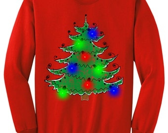 Ugly Christmas Sweater - LIGHT UP -  Gift - Christmas Tree Sweatshirt in Unisex Hot Pink, Royal, Sand, Red, Kelly  s,m,l,xl, xxl, 3xl