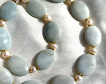 Amazonite and freshwater pearl necklace. Elegant, sophisticated, long jewelry. Powder-blue, gold and white.