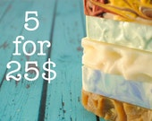 Five Bar Soap Bundle, Homemade Soap, Choose Your Own Soap, Five Soap Sampler, Five for Twenty-five Soaps with Priority Shipping