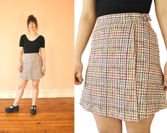 90s Pastel Houndstooth Wrap Mini Skirt / Small / High Wasited Short Skirt 26 inch waist