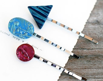 Polymer Clay Bobby Pin Set, Hairpin Set, Blue And Red Bobby Pins, Geometric Bobby Pins