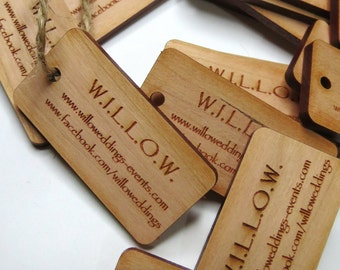 50 - 1 x 2 Custom Wood Tags - Custom Engraved Tags - Wood Gift Tags