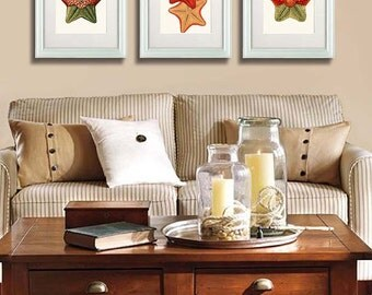 Starfish Art Prints Set of 3 Starfish decor starfish print Nautical print beach decor wall decor nautical picture beach house bathroom decor