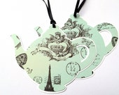 French print Teapot gift tags / favor tags Eiffel tower black & green. Mothers day, gifts for her, birthday party, tea party, kitchen tea