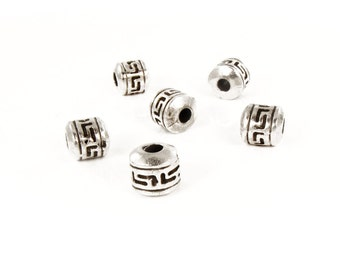 6 Spacer Beads 10x9mm, Silver Tone Metal Beads, Big Hole Beads 3mm For Jewelry Making