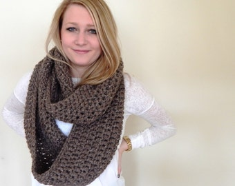 Chunky  Knit Crochet Scarf Cowl - Giant Oversized Scarf - Infinity Scarf - Circle Scarf - Barley Brown Wool Blend