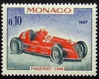 Maserati 1948 Vintage racing car, Monaco -Handmade Framed Postage Stamp Art 10481AM