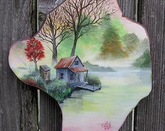 Louisiana Cypress Knee Round Hand Painted Bayou