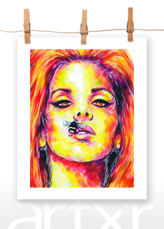 BEE STUNG LIPS 8x10 Print of an Original Acrylic Painting of Lana Del Rey