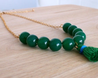"Necklace ""Life is beautiful"" ,  gold filled 14K/ 20 and green agate beads"