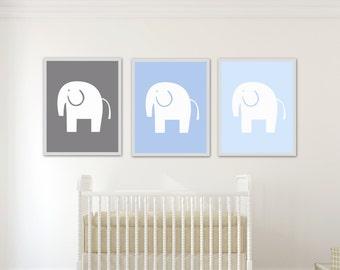 Baby Boy Nursery Art, Blue and Grey Elephant Nursery Art Print, Baby Boy Elephant Wall Art, Boys Bedroom Decor-N755,756,757 -Unframed