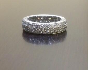 18K White Gold Eternity Diamond Engagement Band - Art Deco Diamond Wedding Band - 18K Diamond Eternity Band - Art Deco 18K Diamond Band