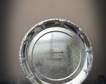 Large Spinning Silver Fruit Platter